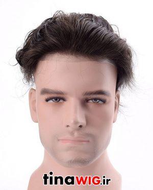 پروتز ترمیم موی مردانه با موی طبیعی رنگ مشکی روشن