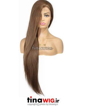 کلاه گیس زنانه مدل فلورا رنگ دارچینی ' جلوتور دار فرق پوستی با موی مصنوعی مات flora-12
