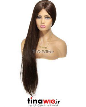 کلاه گیس زنانه مدل فلورا قهوه ای زیتونی ' جلوتور دار فرق پوستی با موی مصنوعی مات FLORA-8
