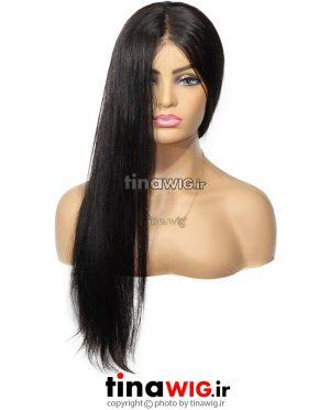 کلاه گیس زنانه طبیعی صاف مشکی تمام تور 75 سانتی FLHS75-2